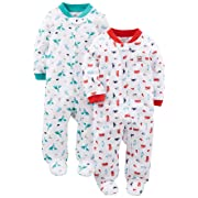 Simple Joys by Carter's Baby Boys' 2-Pack Cotton Footed Sleep and Play, Fire Truck/Dino, Preemie