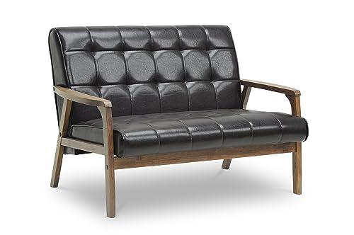 Baxton Studio Mid-Century Masterpieces Love Seat, Brown
