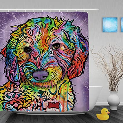 CafeTime Funny Poodle Shower Curtains Collection Colorful Art Animals Decor Bathroom Waterproof Polyester Fabric
