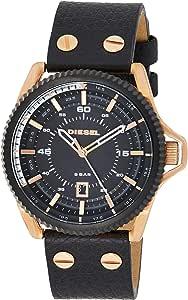 DIESEL Rollcage Men's Quartz Watch with Black Dial and Black Leather Strap DZ1754