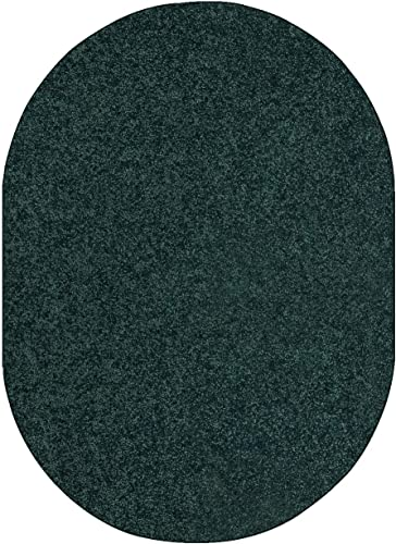 Bright House Solid Color Area Rug Forest Green – 8 x10 Oval