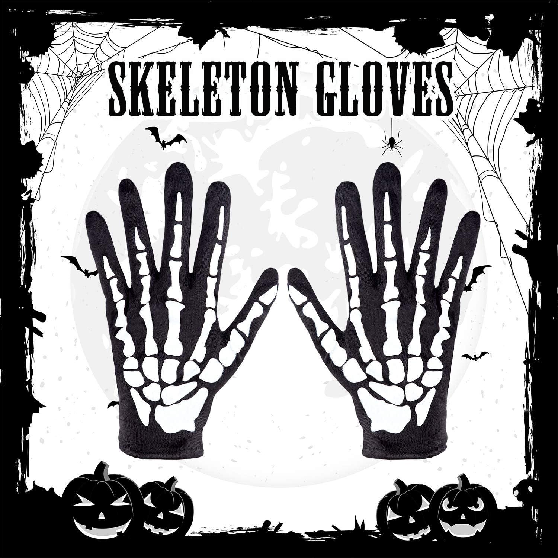 4 Paires Gants de Squelette dHalloween Gants de Cr/âne Os Gants de Squelette en Pleins Doigts pour Enfants et Adultes
