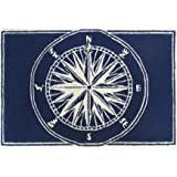 "Area Rugs - Mariners Compass Rug - 30"" X 48"" - Indoor Outdoor Rug - Nautical Decor"
