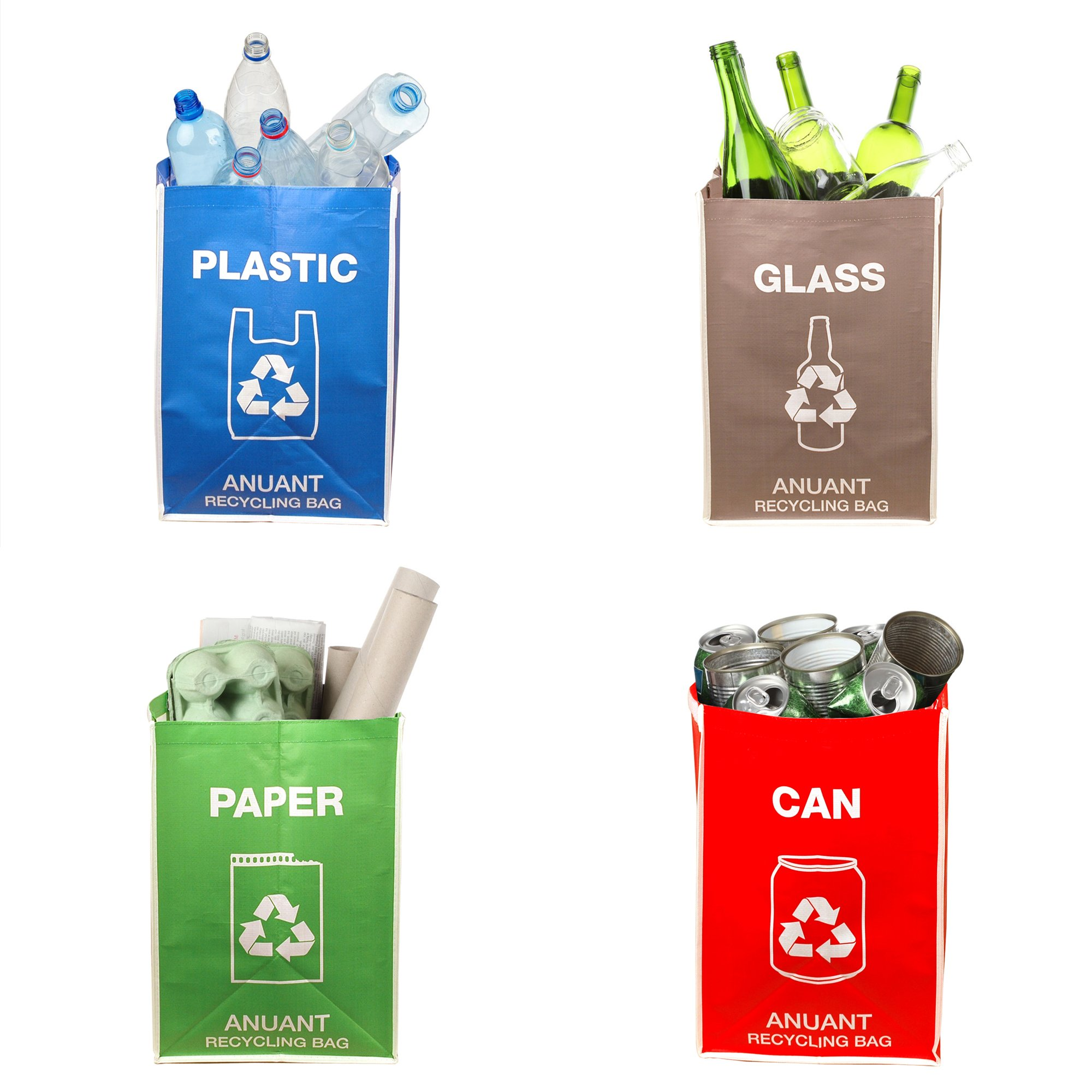 Separate Recycling Waste Bin Bags for Kitchen Office in Home - Recycle Garbage Trash Sorting Bins Organizer Waterproof Baskets Compartment Container Big Size 4 Bags Set by ANUANT (Image #4)