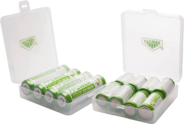 2 x 4slots PPOWER Recargable Caja, Caja de almacenaje, para 8 x 18650, 16 x 16340, 17500, 17650 Pilas, Recargable Caso (Pilas no Incluidas) P-Power: Amazon.es: Electrónica