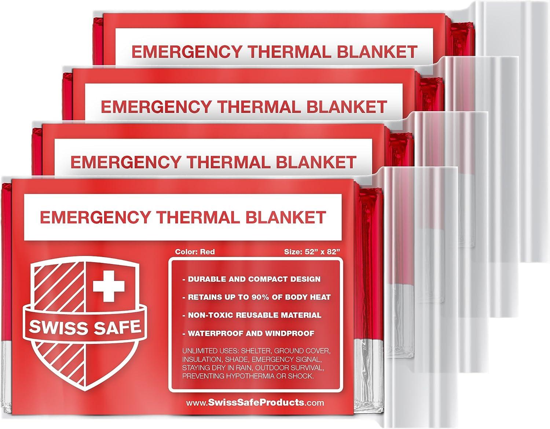 Swiss Safe Emergency Mylar Thermal Blankets (4-Pack) + Bonus Signature Gold Foil Space Blanket: Designed for Outdoors, Hiking, Survival, Marathons or First Aid