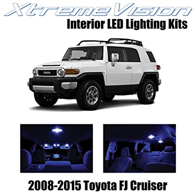 XtremeVision Interior LED for Toyota FJ Cruiser 2008-2015 (4 Pieces) Blue Interior LED Kit + Installation Tool: Automotive
