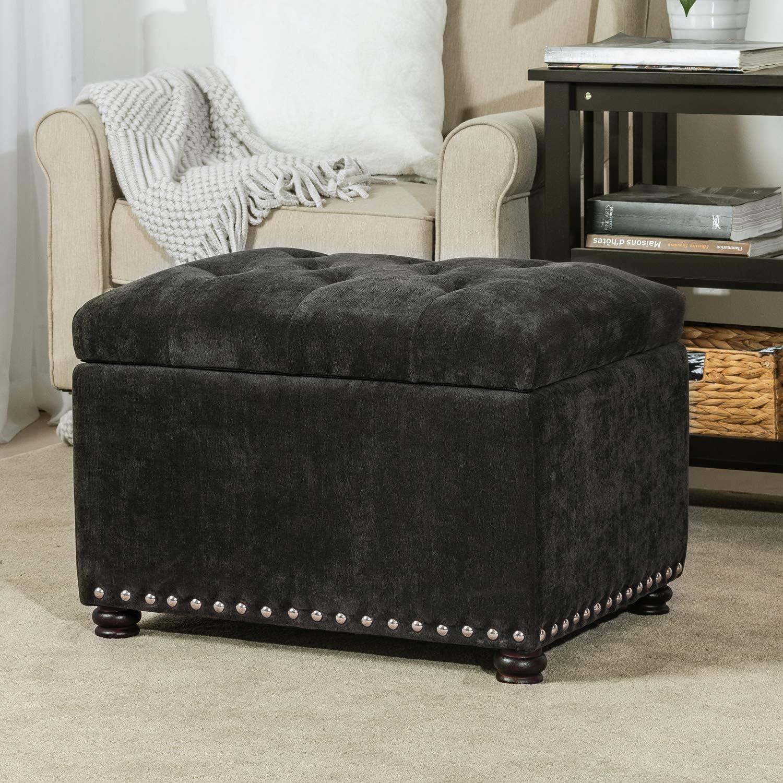 Toy Storage Box Stool Medium Mink HomeHarmony/® Crushed Velvet Quilted Top Folding Storage Ottoman Seat