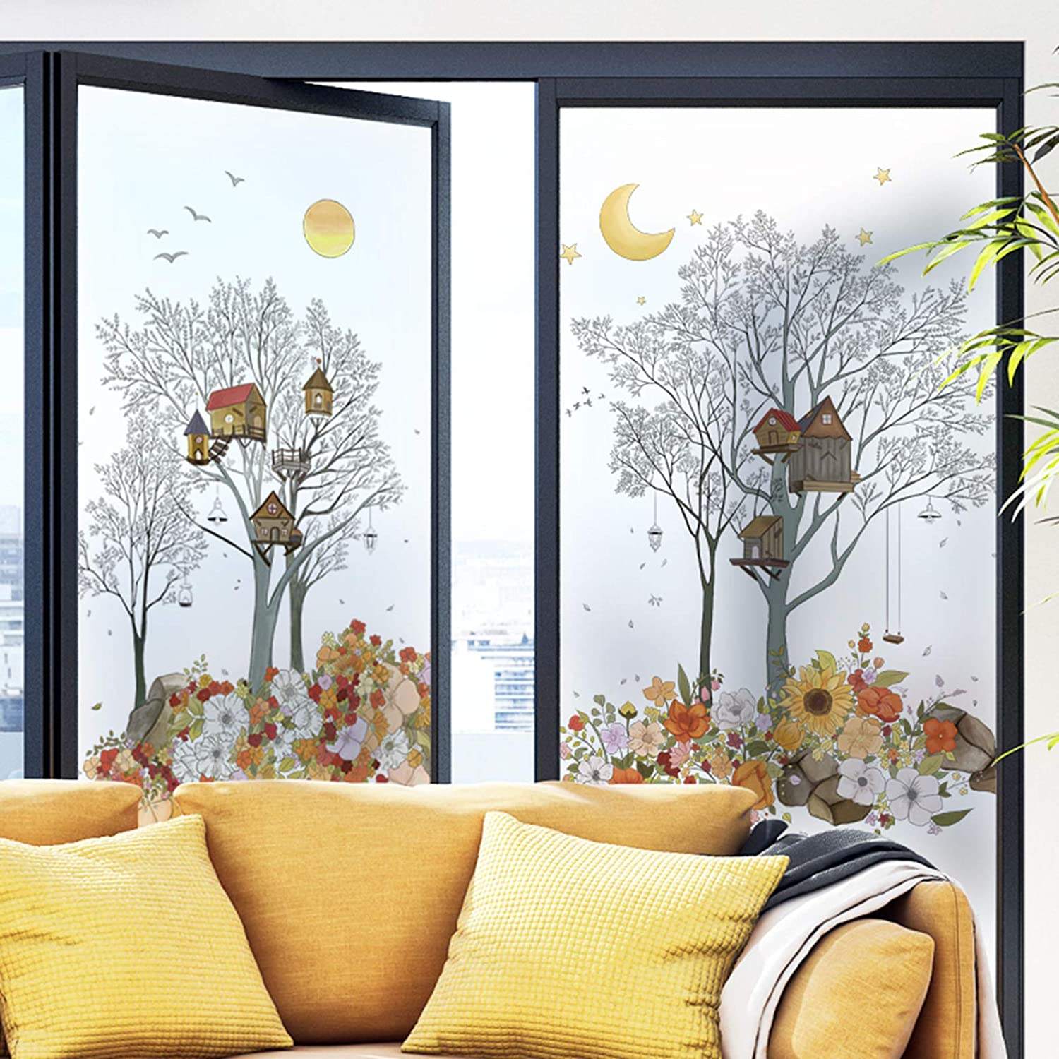 2 Sheets Stars Night Sunshine Wall Decal Sun Moon Sticker,Flower Stone Under The Breeze Moon Wall Sticker,Natural Scenery of Garden in The Setting Sun Fall Decor for Home