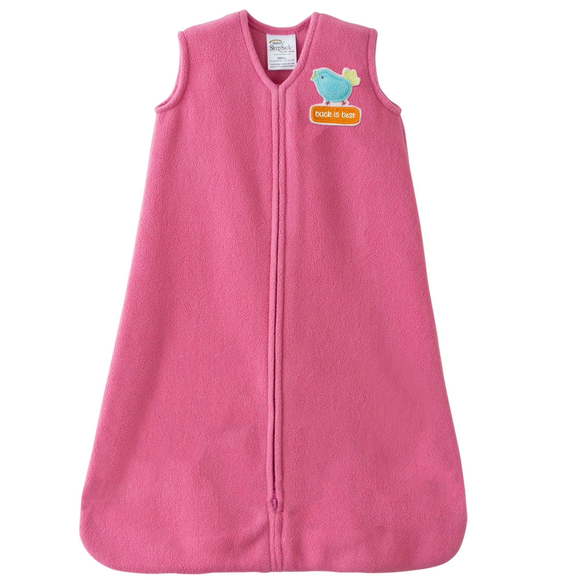 Halo Hot Pink SleepSack Wearable Baby Blanket, Micro-Fleece, Small