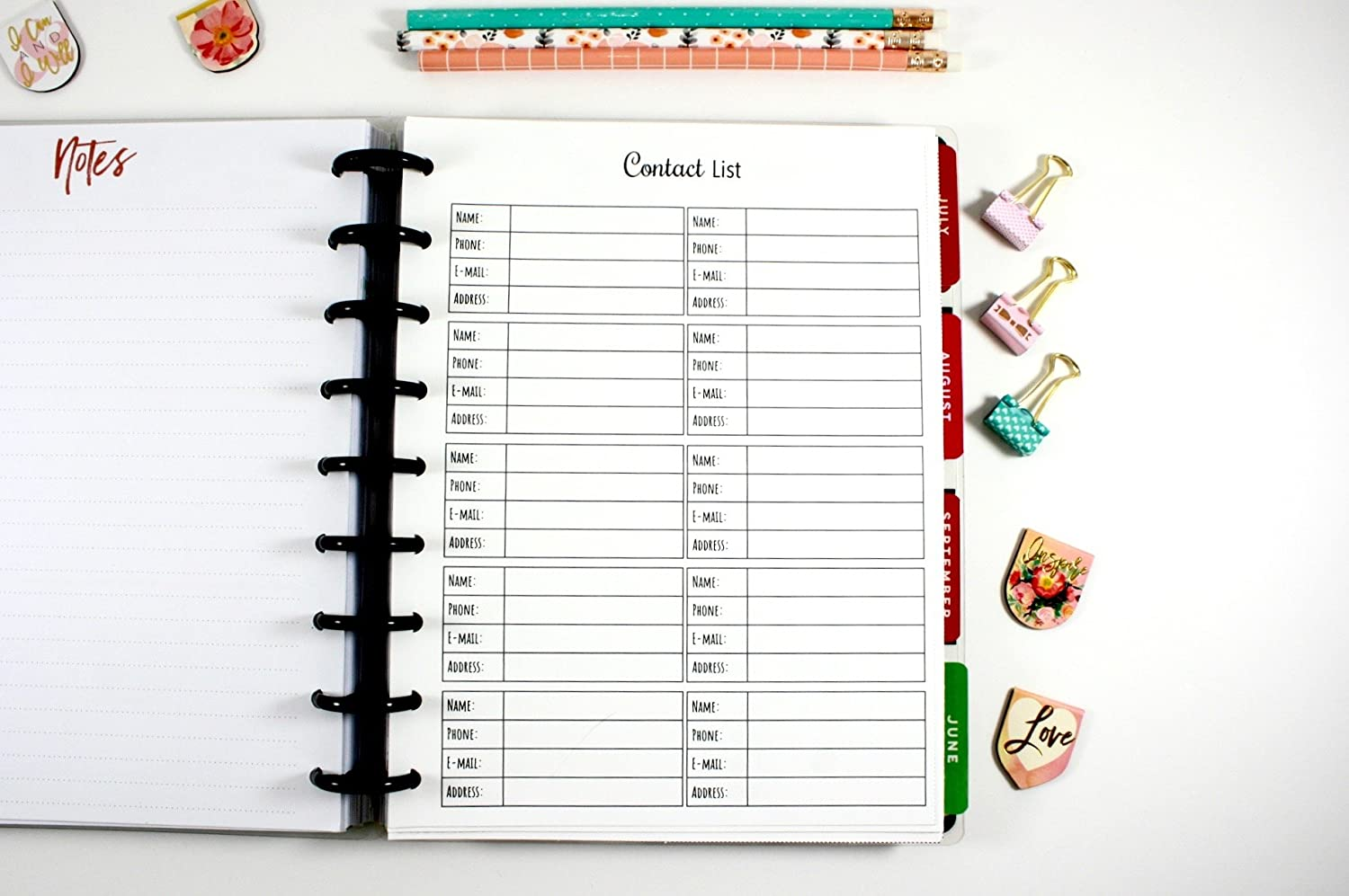 Classic Happy Planner Contact List Inserts, Classic Happy Planner Contact Information, Pre-punched Happy Planner Inserts, Pre-punched Contact Information