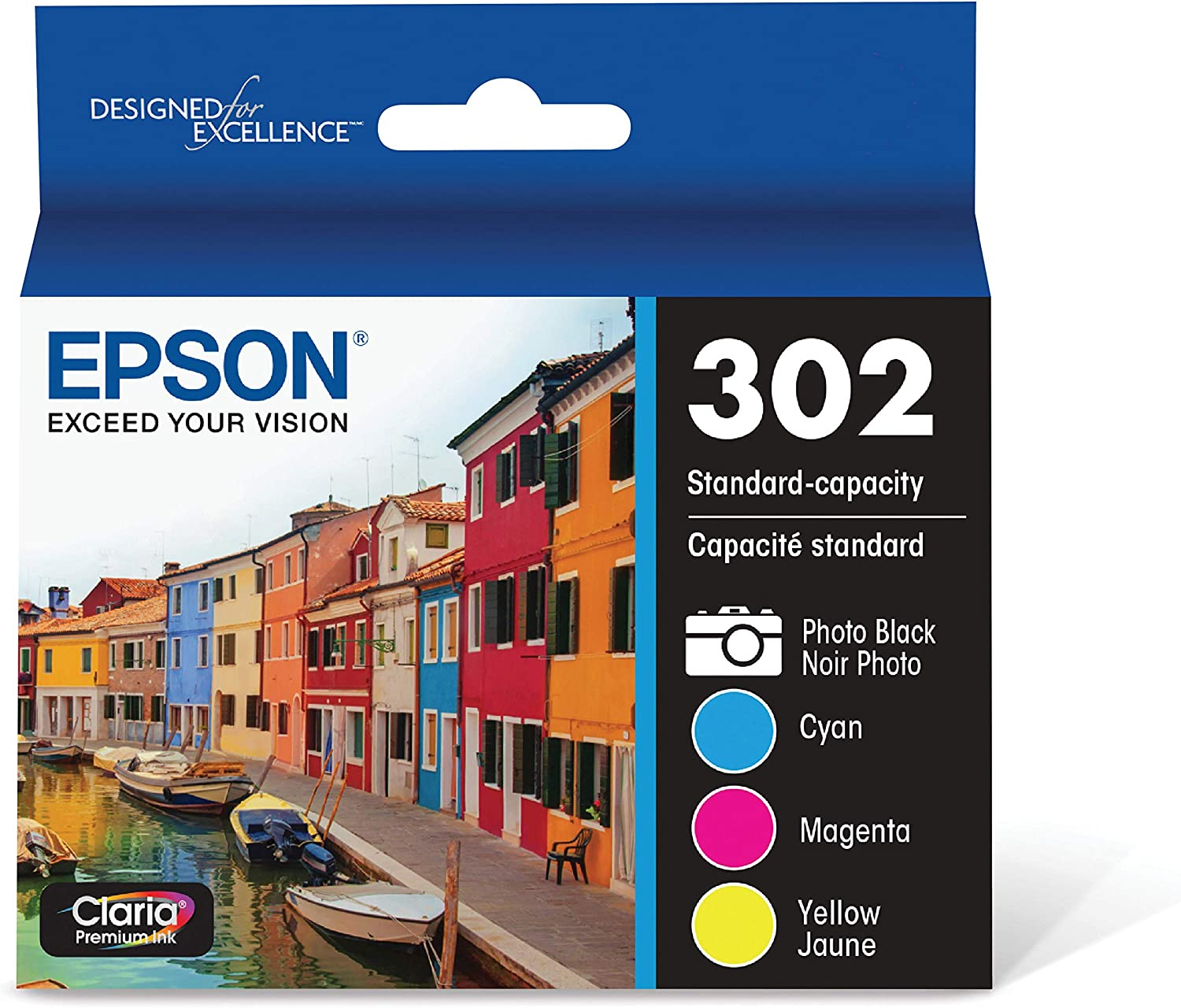 Epson T302 Claria Standard-Capacity Ink Cartridge Multi-Pack - Photo Black and Color (CMYPB)
