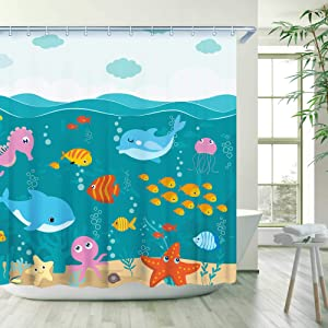Stacy Fay Under The Sea Shower Curtains Starfish Dolphins for Kids Boys Girls- Waterproof Fabric Polyester Bathroom Decor Ocean Shower Curtain 72 X 72 Inch (Teal)