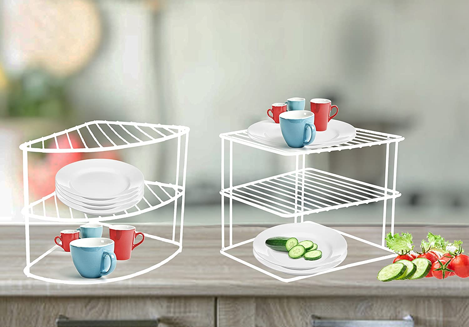 3 Tier Plate Stand Organizer for Kitchen Holder Storage Cupboard Or Worktop White (Fan Corner Rack) buyingzone