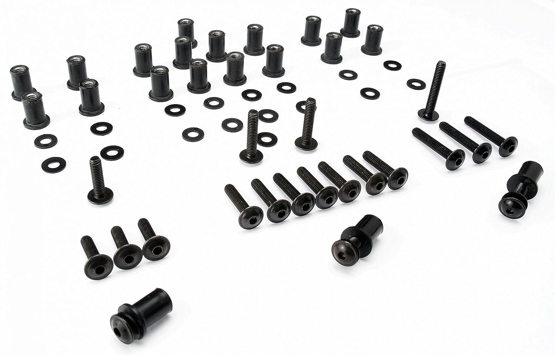 Auto & Motorrad 10x Verkleidungsschrauben mit Gummimutter M4 Neopren für Verkleidungsscheibe sw schwarz