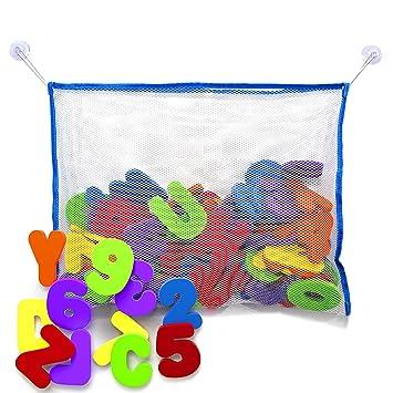 juguetes para el baño - letras y números de baño con organizador ... - Organizador De Juguetes Para Bano
