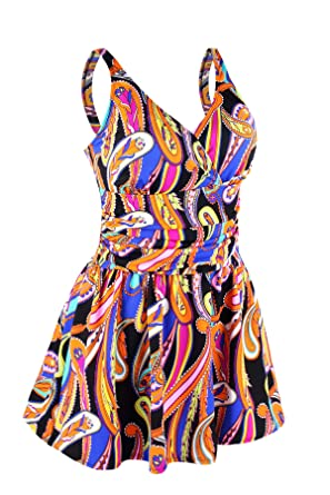 e8b1b447db7 JINXUEER Plus Size Swimsuit Tummy Control Swimwear One Piece Floral Print  Swimdress with Flared Skirt for