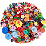 Greentime 1500 pcs Round Resin Buttons Mixed Color Assorted Sizes for Crafts Sewing DIY Manual Button Painting DIY Handmade O