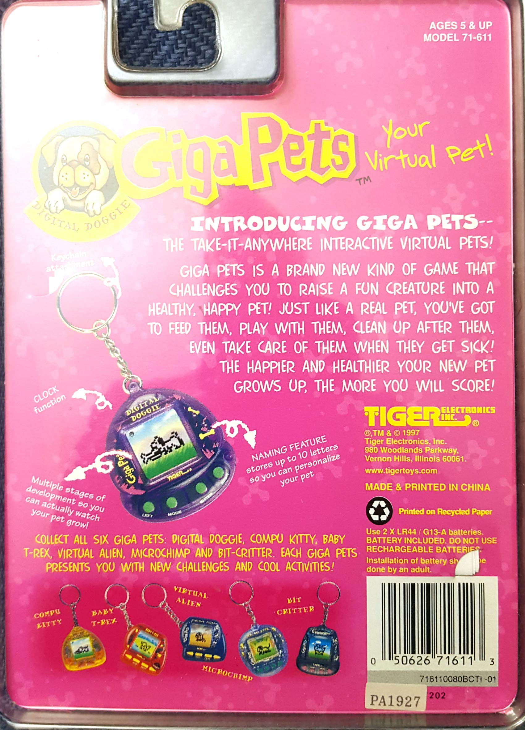 Giga Pets Virtual Digital Doggie LCD Game (1997) by Tiger Electronics (Image #2)