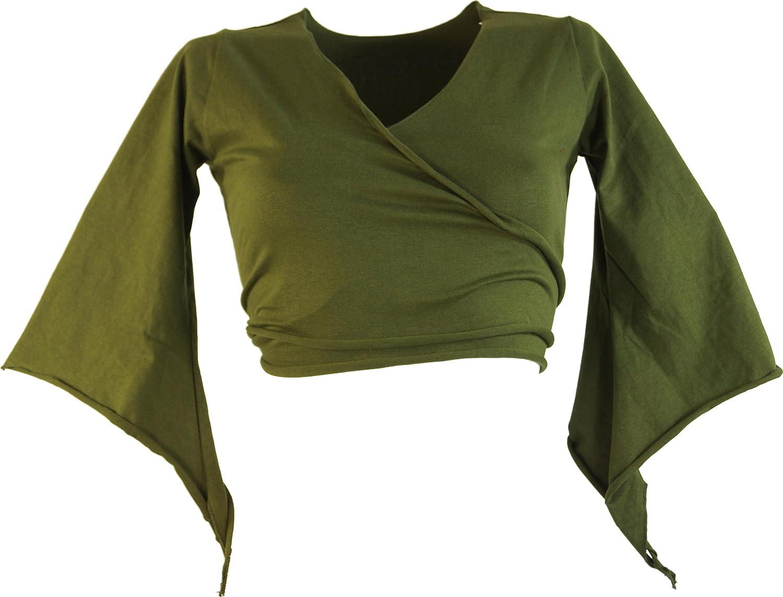 GURU-SHOP Elfo Top Goa-Chic MA Olive//Tops e Magliette,