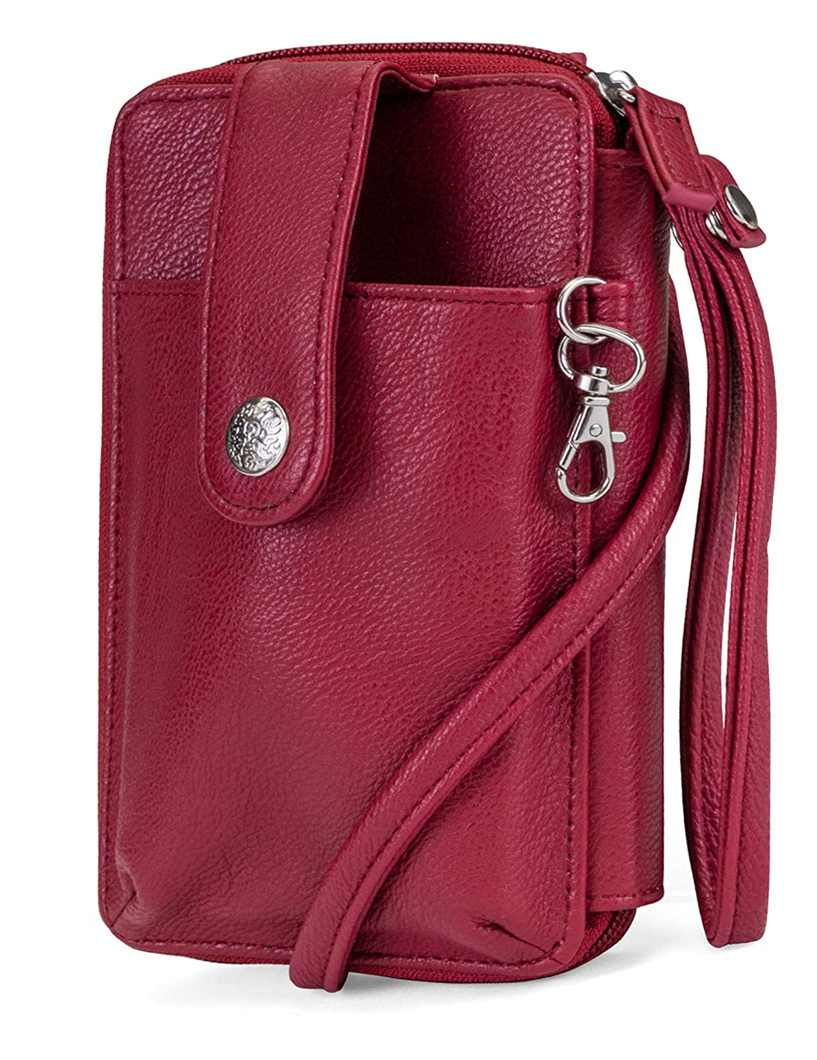 (Red) MUNDI Jacqui Vegan Leather RFID Womens Crossbody Cell Phone Purse Holder Wallet