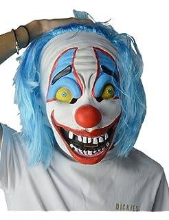 larpgears halloween costume scary blue hair clown halloween horror mask for adults