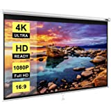VIVOHOME 100 Inch Manual Pull Down Projector Screen, 16:9 HD Retractable Widescreen for Movie Home Theater Cinema Office Vide