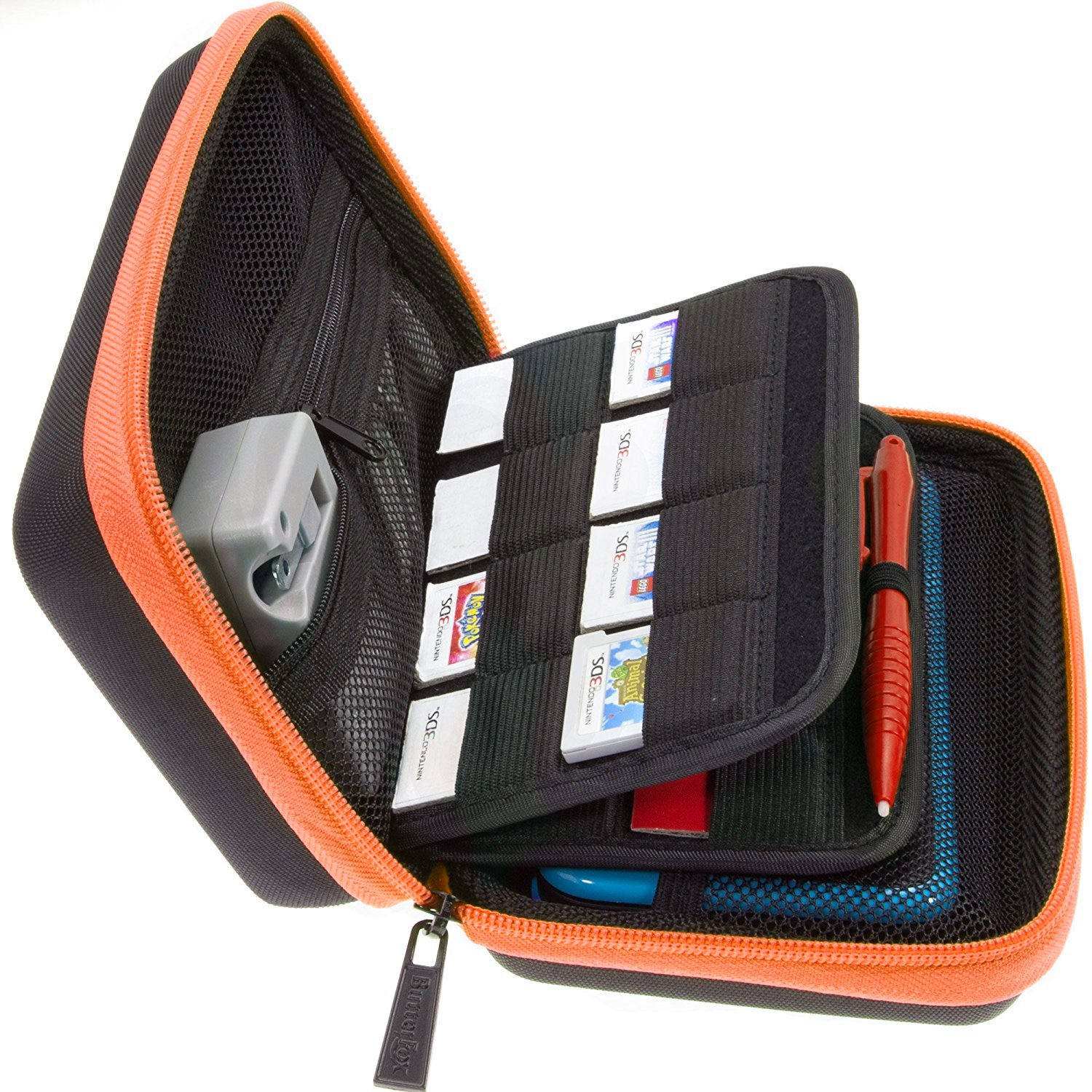 BRENDO Carrying Case for New Nintendo 2DS XL, Includes Large Stylus, Fits Wall Charger, 24 Game Cartridge Case Holder, Large Accessories Pocket - Black/Orange by Butterfox (Image #1)