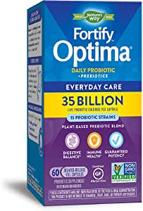 Nature's Way Fortify Optima Daily Probiotic, 35 Billion, 15 Strains, Prebiotic, 60 Capsules