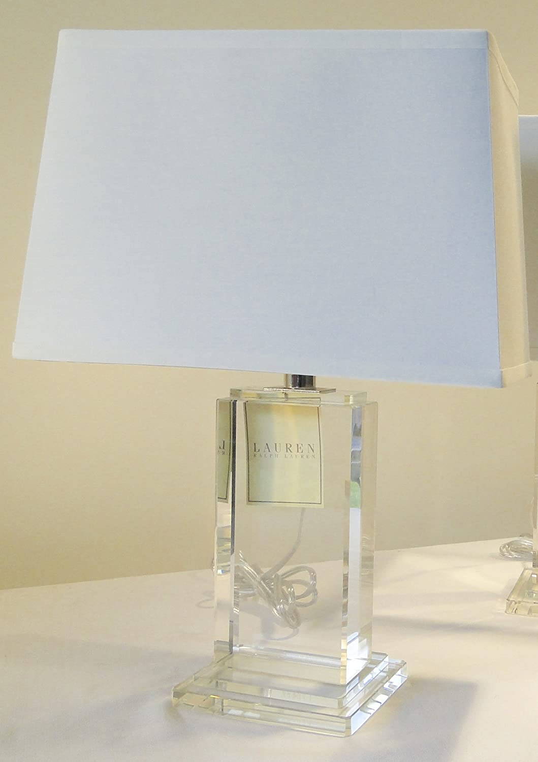 Ralph Lauren Home Rectangular Column Crystal Base With Rectangular White  Linen Shade     Amazon.com