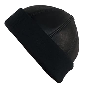 Dazoriginal Docker Cap Fisherman Hat Plain Black Leather Beanie Men Winter  Ski 12a0487c263