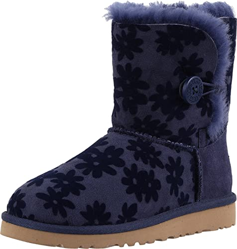bc05b13c9d9 UGG Kids Girl's Bailey Button Flowers (Little Kid/Big Kid) Navy Boot ...
