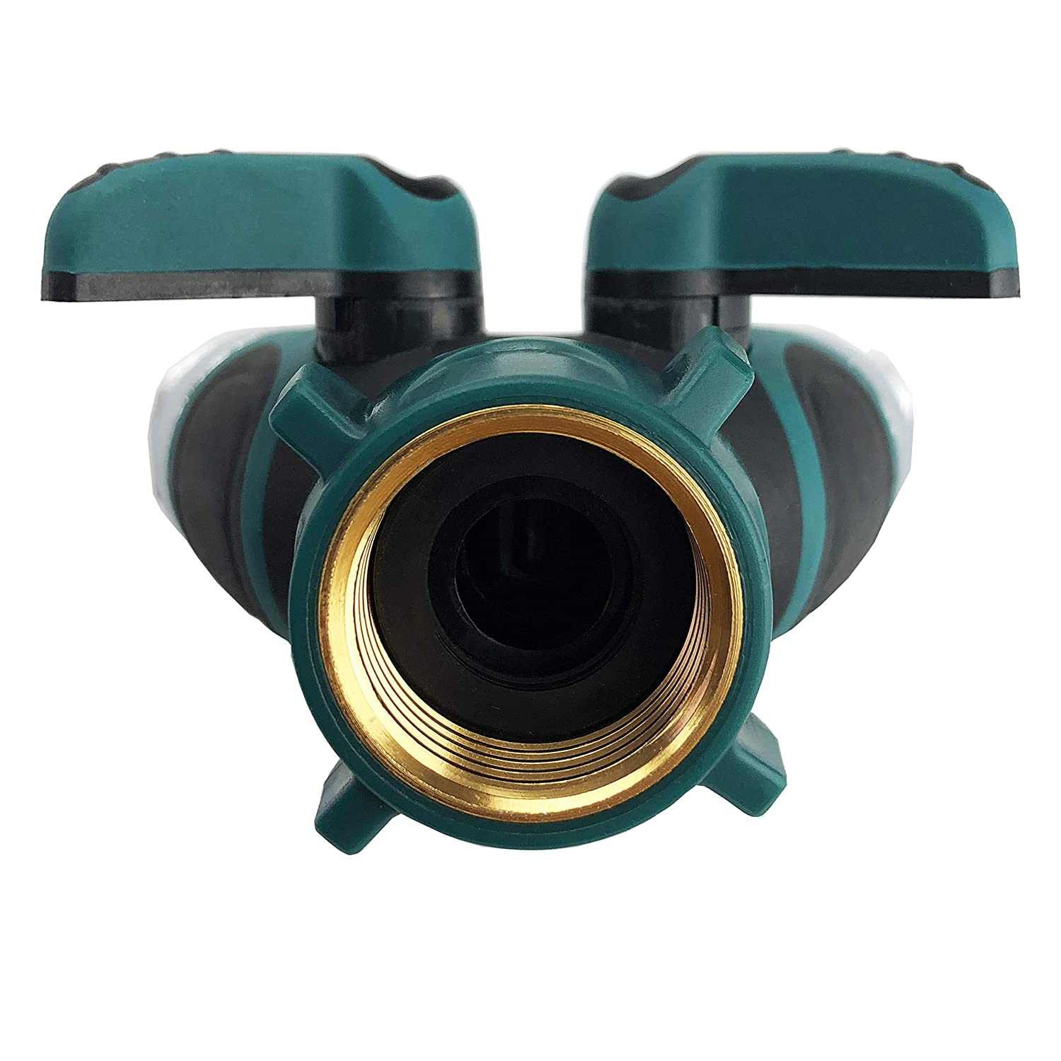 Hose Splitter 2 Way with Comfortable Rubberized Grip /… Green Body Made of Copper Pexio Professional Garden Hose Connector