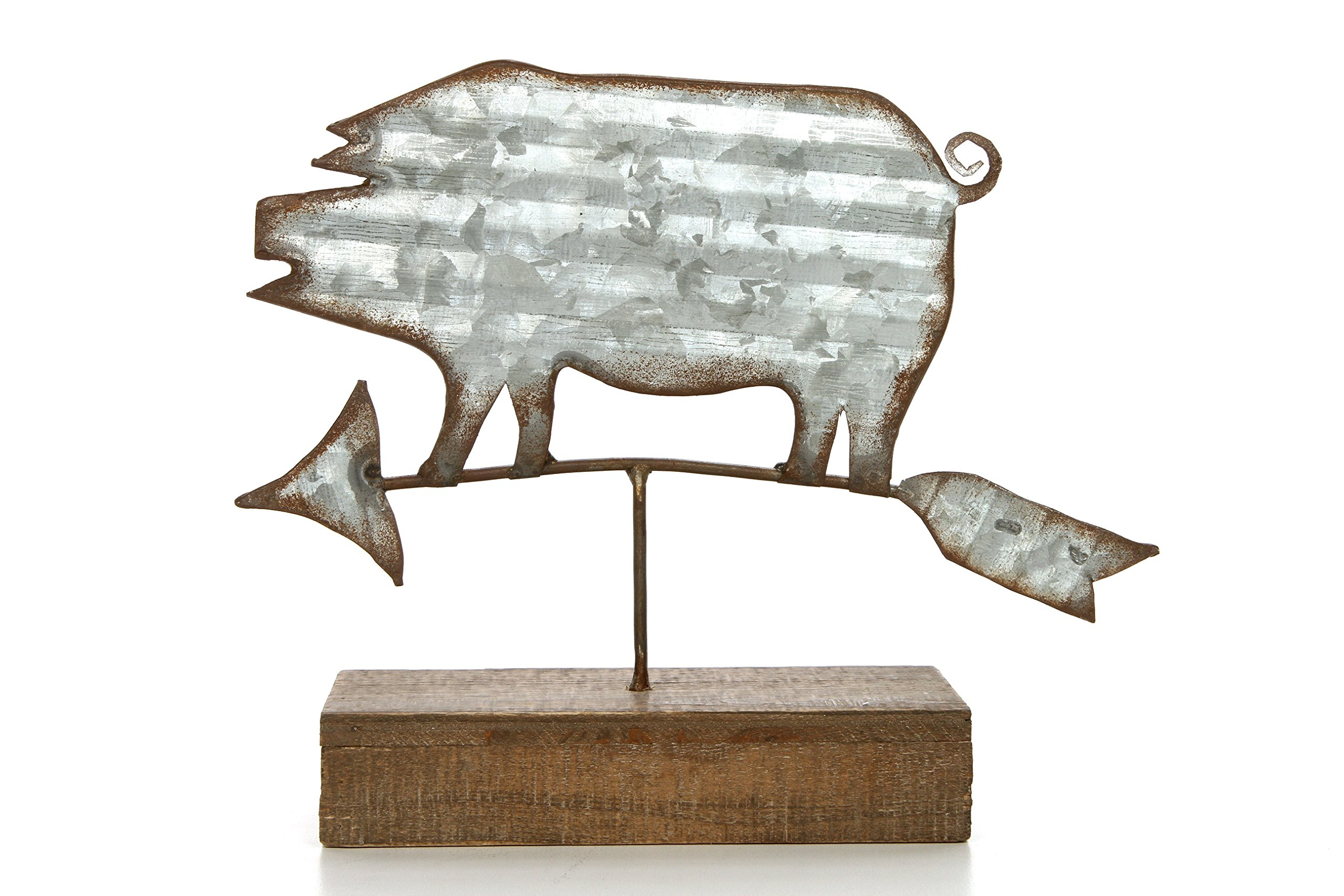 Hosley 7.5'' High, Decorative Tabletop Pig Weather Vein. Ideal Gift for Wedding, Home, Party Favor, Spa, Reiki, Meditation, Bathroom Settings. O9