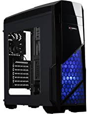 Rosewill ATX Case, Mid Tower Case with Blue LED Fan/Gaming Case for PC with Side Window Panel & 3 Fans Pre-Installed, Computer Case 2 x USB3.0 Port - Nautilus