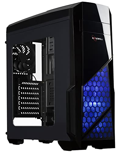 ROSEWILL ATX Case , Mid Tower Case with Blue LED Fan / Gaming Case for PC with Side Window Panel & 3 Fans Pre-Installed , Computer Case 2 x USB3.0 Port - NAUTILUS