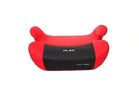 Play Safe Three - Elevador, grupo 2/3 (15-36 kg, 4-12 años), color rojo y negro