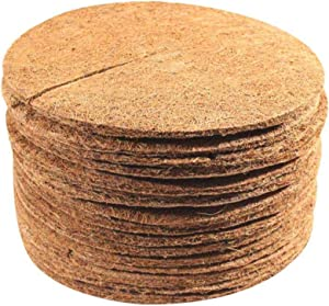 DUDNJC 16 in Coconut Coir Fibers Mulch Ring Tree Protector Mat, 5pcs Natural Coconut Fiber Weed Mats Tree Planter Mulch Replacement Disc Plant Cover for Potted Plants Garden Flower Vegetables Cover
