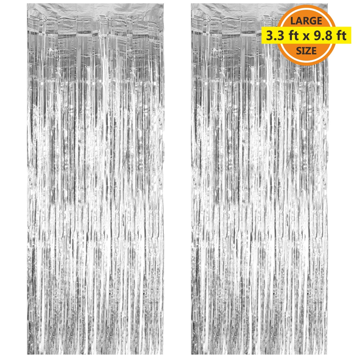 2 Pack 3.3 ft x 9.8 ft Foil Curtains Metallic Fringe Curtains Shimmer Curtain Photo Backdrop for Halloween Christmas Birthday Party Wedding Decor (Silver)