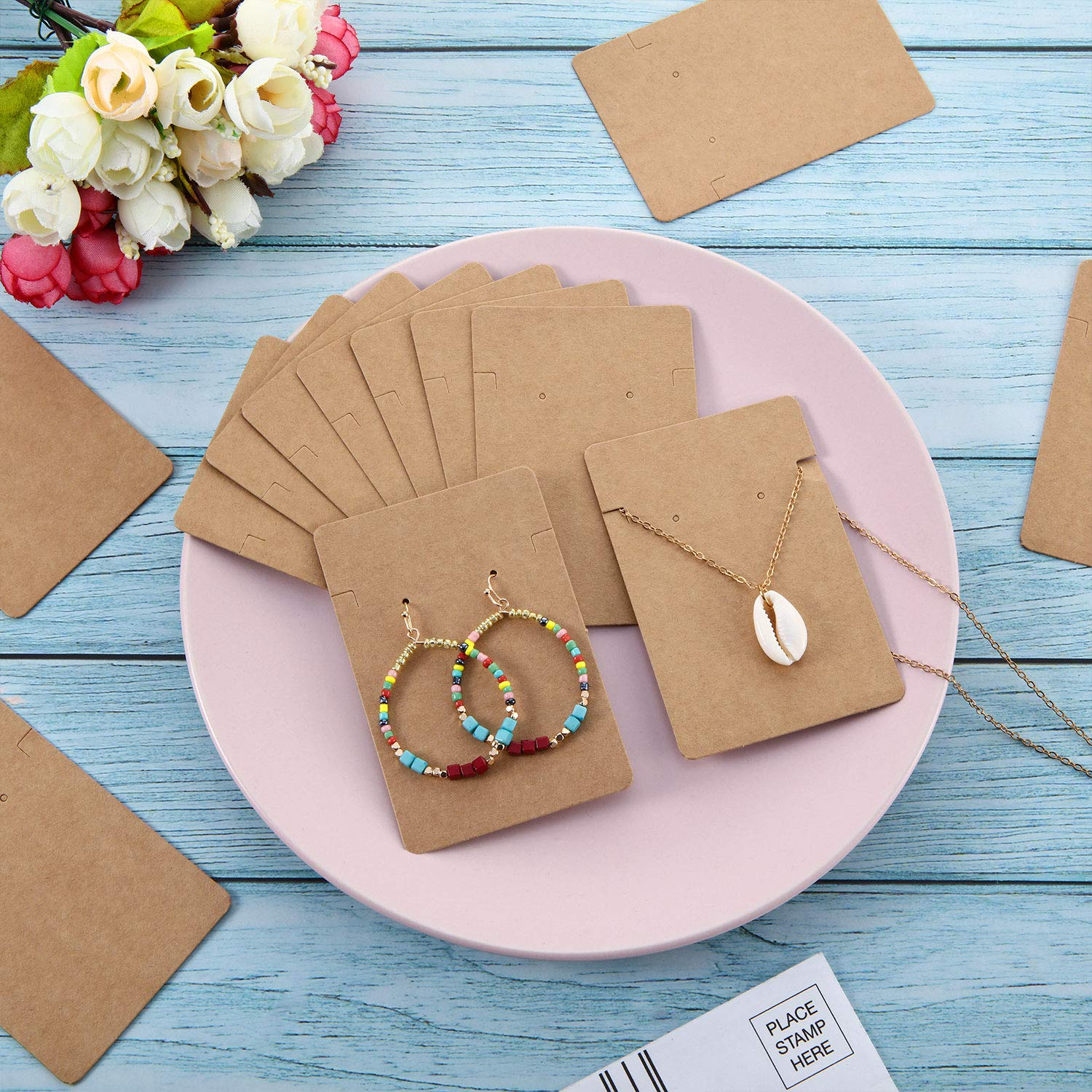 300 Pieces Necklace Earring Display Cards with 300 Pieces Self-Sealing Bags for Stud Earrings Dangle Earrings Pendant Earrings Necklace Chain Black