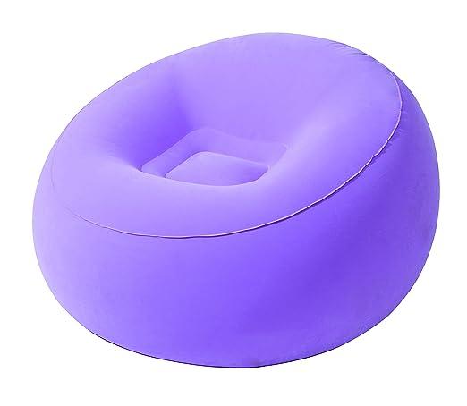 MovilCom® - Sillón Hinchable Silla Individual | Asiento Hinchable Interior Exterior | Relax Comfort - Violeta