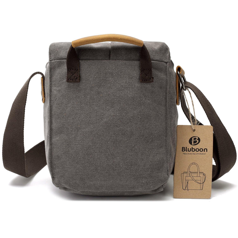 Camera Shoulder Bag Vintage Canvas Leather Trim Shockproof Messenger Bag/ for SLR//DSLR Grey