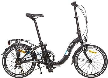 20 Pulgadas Bicicleta plegable 6 velocidades Popal Subway F201, negro mate
