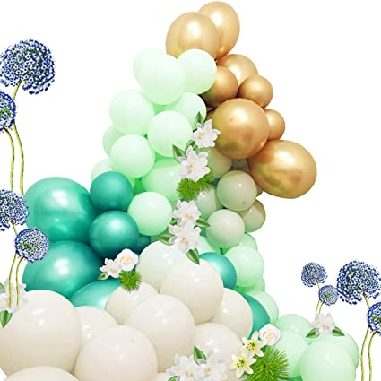 100pcs Metallic Balloons Garland Mint Green And Gold Balloons Pastel Gray Balloons Green Party Balloons Decorating Strip Tape Latex Balloons Glue Dots