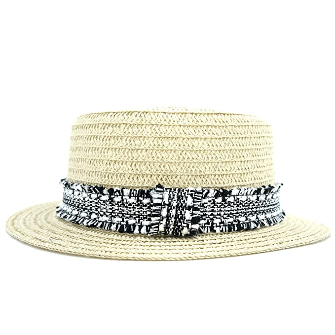 2cf8d783c829f accsa Women s Straw Panama Hat Summer Beach Cap with Black and White Ribbon