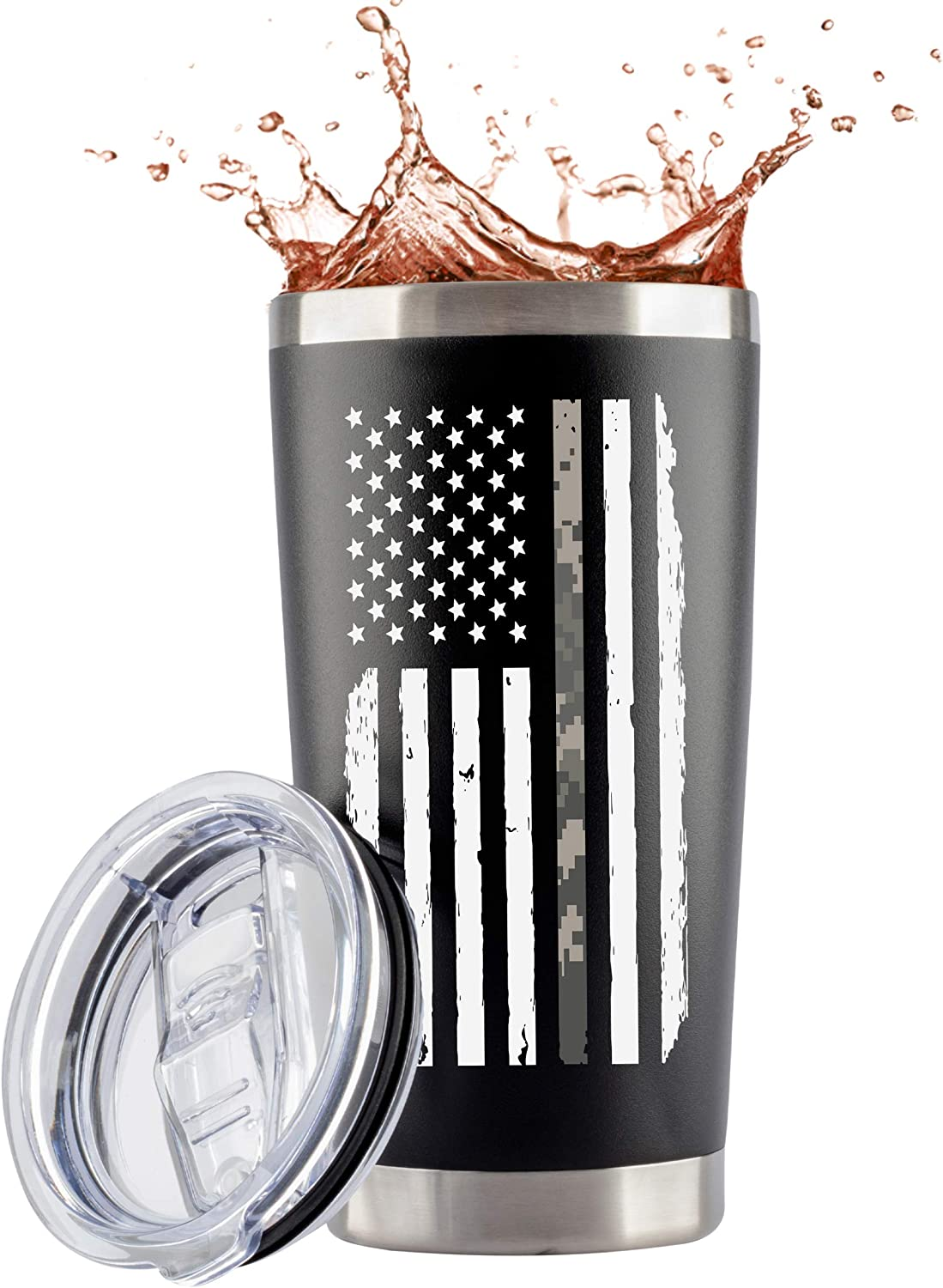 Army Gifts Tumbler | Large 20oz Camo Stainless Steel Travel Mug with Lid for Coffee/Cold Drinks | Camo Cup For Soldiers boyfriend shop US Military Veterans | by JENVIO