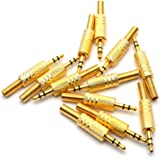 Antrader 3.5mm/1/8 StereoMale Plug Audio Cable Connector w/Spring Coax Cable Audio SolderAdapterPack of 12