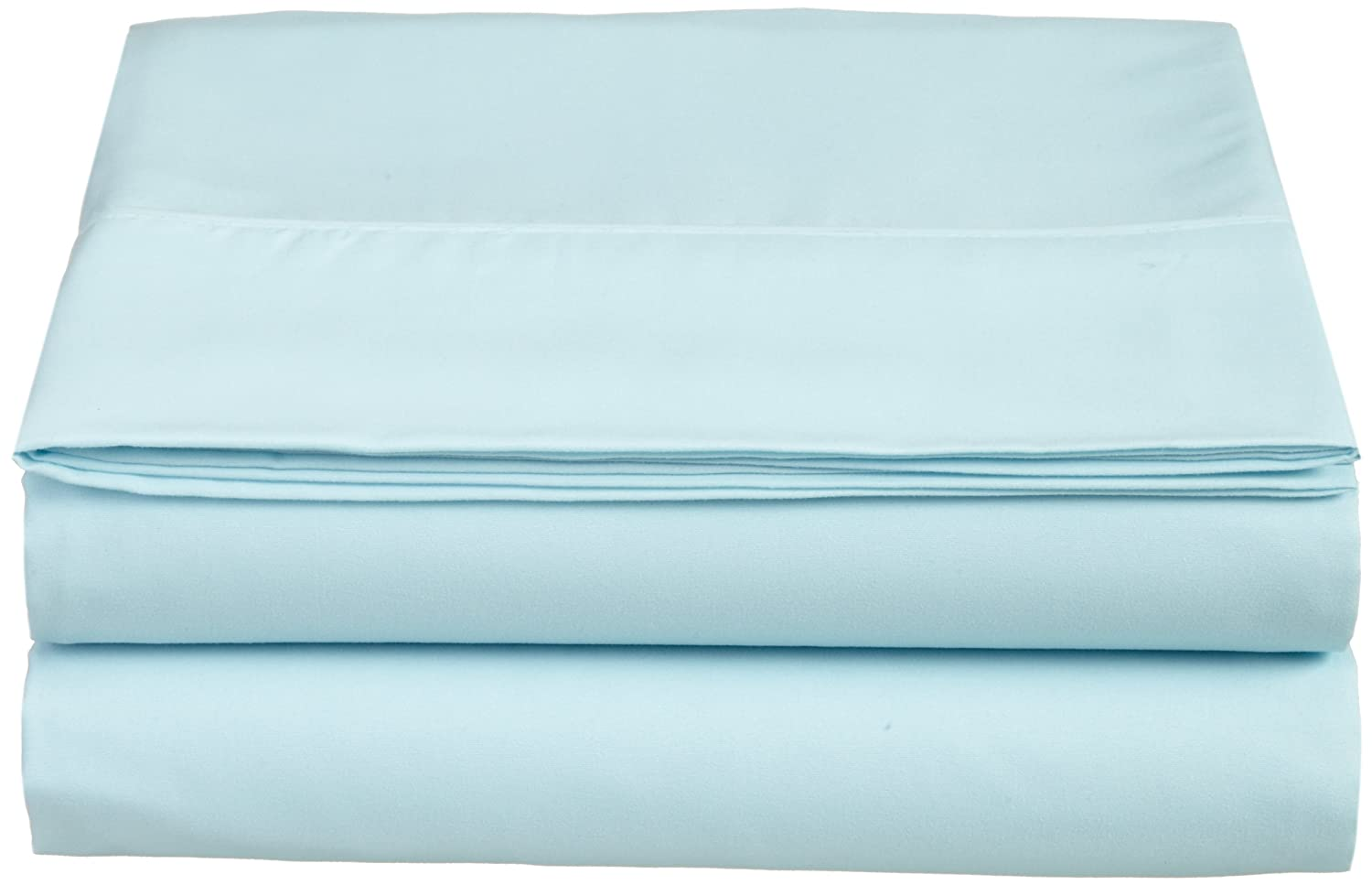 Cathay Luxury Silky Soft Polyester Single Flat Sheet, Twin Size, Aqua Cathay Home Fashions 108072-FL-TAQ