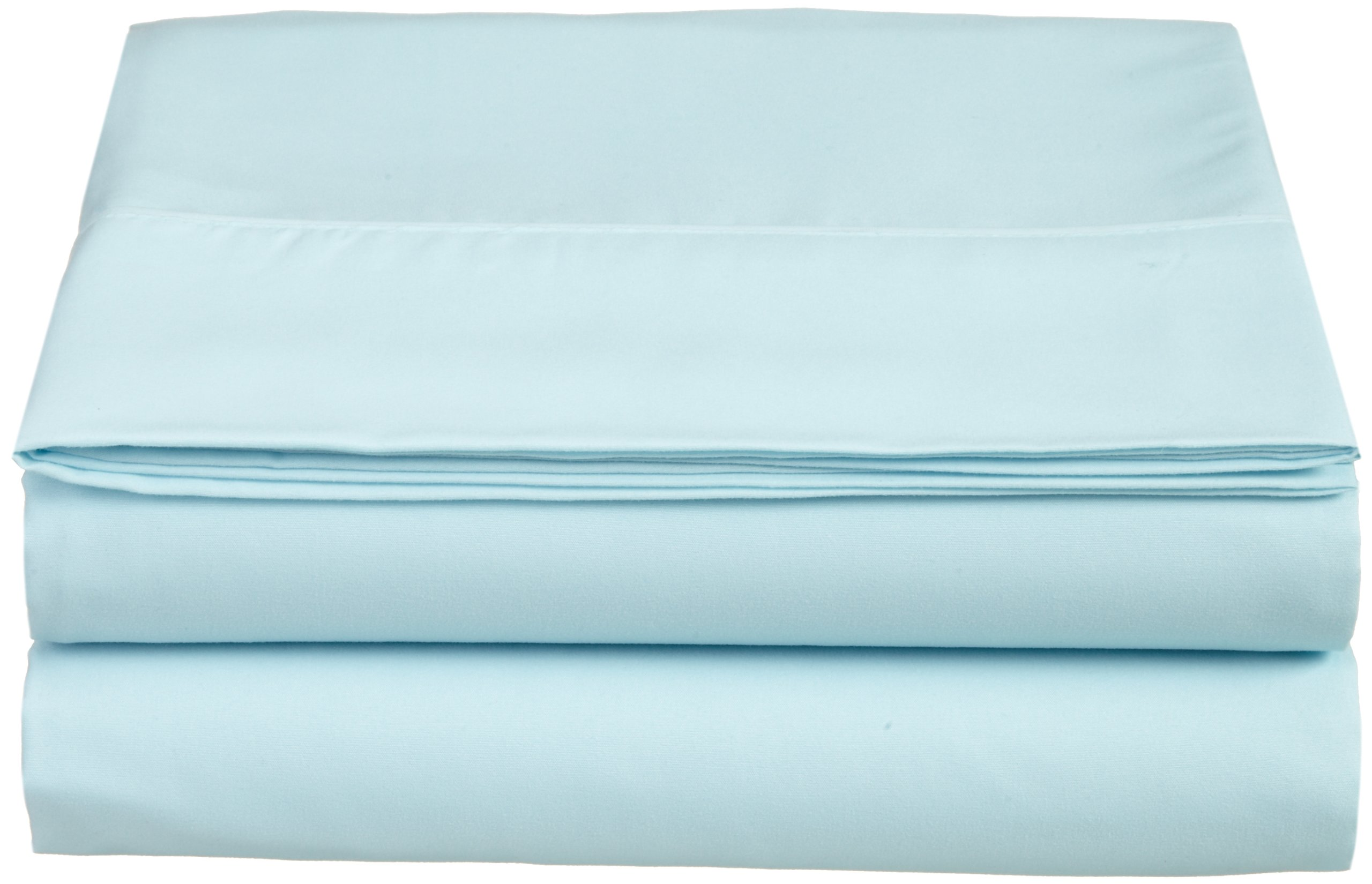 Cathay Luxury Silky Soft Polyester Single Flat Sheet, Twin Size, Aqua by Cathay Home
