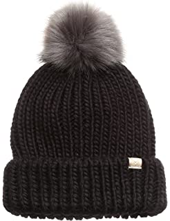 50227485af054 MIRMARU Women s Winter Solid Ribbed Knitted Beanie Hat with Faux Fur Pom Pom